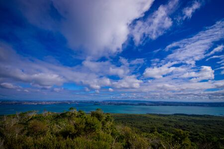 View to Rangitoto Island from North Head in a sunny day with a beautiful blue sky Stock Photo
