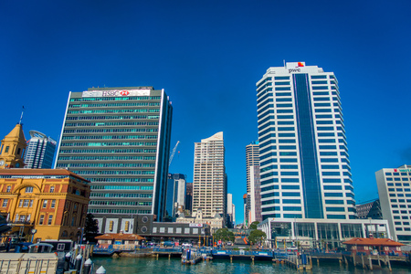 AUCKLAND, NEW ZEALAND- MAY 12, 2017: Beautiful view of the largest and most populous urban area in the country, with some buildings Editorial