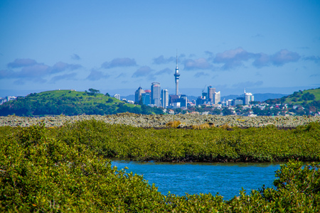 AUCKLAND, NEW ZEALAND- MAY 12, 2017: View of the mainland Auckland city from Rangitoto island Editorial