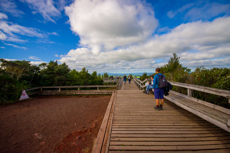 walking paths: AUCKLAND, NEW ZEALAND- MAY 12, 2017: Unidentified people enjoying the beautiful view from top in the mountain in Rangitoto Island walking in wooden paths, New Zealand in a sunny day Editorial