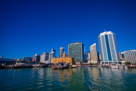 AUCKLAND, NEW ZEALAND- MAY 12, 2017: Beautiful view of the largest and most populous urban area in the country, with a panoramic view in a sunny beautiful day Editorial