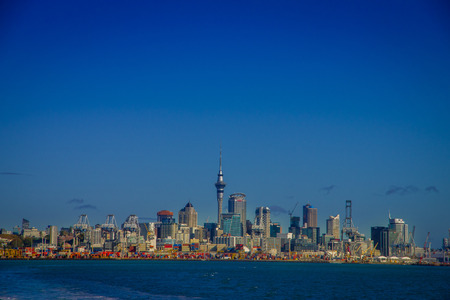 famous industries: AUCKLAND, NEW ZEALAND- MAY 12, 2017: Beautiful view of the largest and most populous urban area in the country, with a panoramic view in a sunny beautiful day in the horizon Editorial