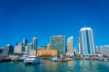 midday: AUCKLAND, NEW ZEALAND- MAY 12, 2017: Beautiful view of the largest and most populous urban area in the country, with some buildings Editorial