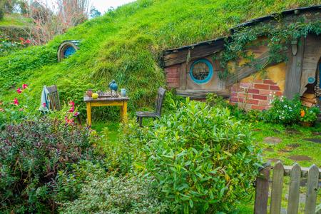 NORTH ISLAND, NEW ZEALAND- MAY 16, 2017: Hobbit house, hobbiton movie set, site made for movies: Hobbit and Lord of the ring in Matamata, north island of New Zealand