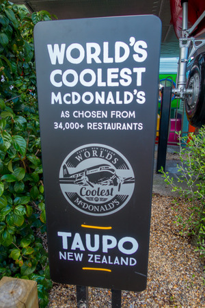NORTH ISLAND, NEW ZEALAND- MAY 18, 2017: An informative sign of the amazing DC3 plane as part of the McDonalds located at Taupo,New Zealand, and it is 10 coolest McDonalds around the world list Sajtókép
