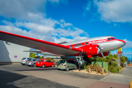 mcdonalds: NORTH ISLAND, NEW ZEALAND- MAY 18, 2017: Amazing DC3 plane as part of the McDonalds which is located at Taupo,New Zealand.T, and it is 10 coolest McDonalds around the world list