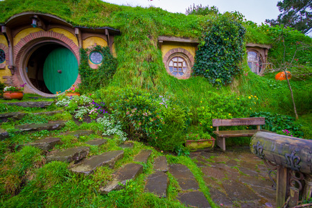 NORTH ISLAND, NEW ZEALAND- MAY 16, 2017: The front gate of Bag End, Hobbiton, the home of key character in the famous movie. Hobbiton is the fictional village created for the movie Lord of the Rings Editorial