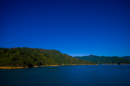 marlborough: Beautiful landscape with gorgeous blue sky in a sunny day seen from ferry from north island to south island, in New Zealand