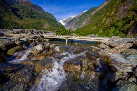 Beautiful view of Franz Josef Glacier in Westland National Park on the West Coast of South Island in New Zealand