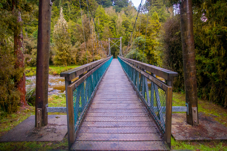 Suspension bridge in southwest in National Park, located in New Zealand
