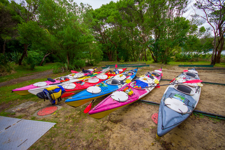 SOUTH ISLAND, NEW ZEALAND- MAY 22, 2017: Kayaking in Abel Tasman National park, located in South Island in New Zealand Editorial