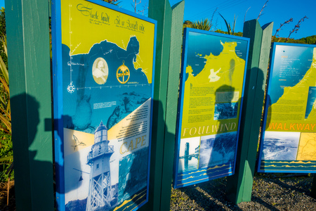 bushwalk: SOUTH ISLAND, NEW ZEALAND- MAY 23, 2017: Informative sign of cape foulwind walkway located in South Island in New Zealand