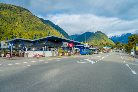 SOUTH ISLAND, NEW ZEALAND- MAY 23, 2017: Town near glacier in the South Island is a general store that located on the main road in Fox Glacier, located in New Zealand