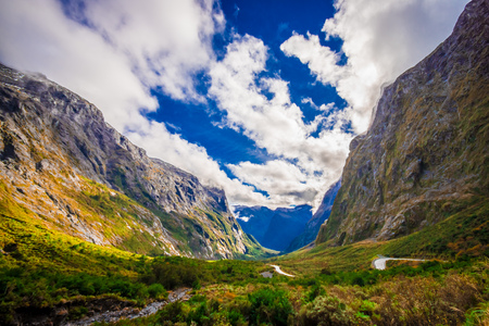 Beautiful landscape of high mountain glacier at milford sound, in south island in New Zealand Stock Photo