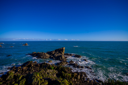Island near Cape Foulwind, View from the Cape Foulwind walkway at the Seal Colony, Tauranga Bay. New Zealand