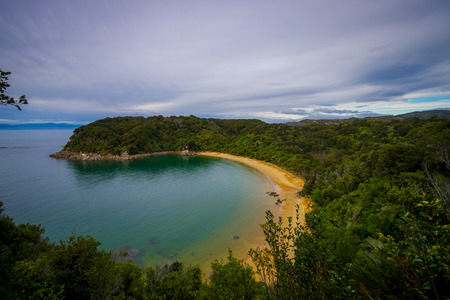 Beautiful coastal view located in Abel Tasman National Park, in New Zealand, aerial view