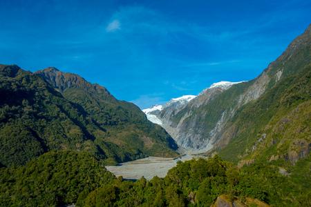 Franz Josef Glacier and valley floor, Westland, South Island, New Zealand