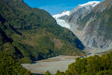 mountainous: Franz Josef Glacier and valley floor, Westland, South Island, New Zealand