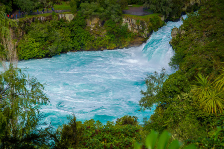 Powerful Huka Falls on the Waikato River near Taupo North Island New Zealand