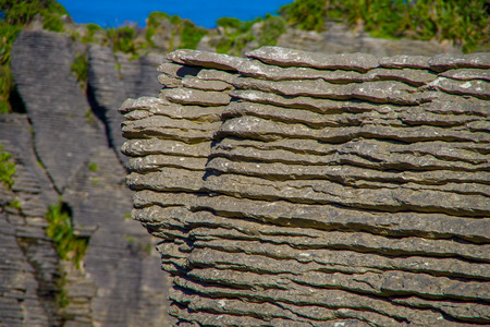 Detail of Pancake rocks in Punakaiki, South island, in New Zealand