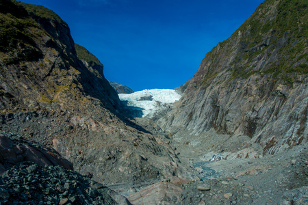 Franz Josef Glacier and valley floor, Westland, South Island, Franz Josef Glacier National Park, in New Zealand Stock Photo