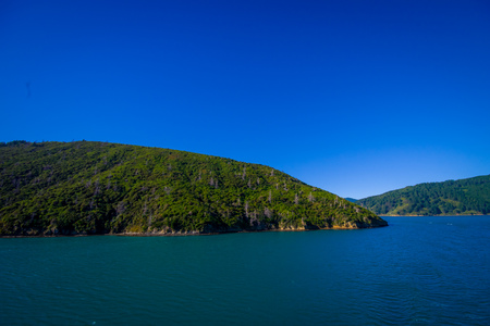 marlborough: Amazing view from seen from ferry from north island to south island, in New Zealand Stock Photo