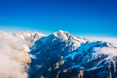A Wide Panorama of Snowy Mountains, Southern Alps located in south island, in New Zealand.