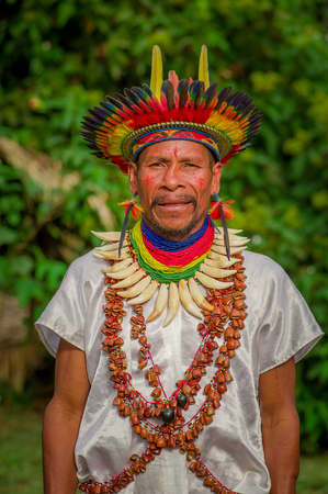 ecstasy: LAGO AGRIO, ECUADOR - NOVEMBER 17, 2016: Siona shaman in traditional dress with a feather hat in an indigenous village in the Cuyabeno Wildlife Reserve Editorial
