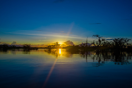 Beautiful silhouetted against an orange sky at sunset over Laguna Grande in the Cuyabeno National Park, in Ecuador Stock Photo