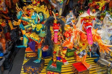BALI, INDONESIA - MARCH 08, 2017: Impresive hand made structures, Ogoh-ogoh statue built for the Ngrupuk parade, which takes place on the even of Nyepi day in Bali, Indonesia Stock Photo