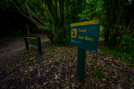 bushwalk: SOUTH ISLAND, NEW ZEALAND- MAY 22, 2017: Informative sign inside the forest about Abel Tasman National Park located in South Island in New Zealand