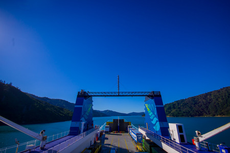 SOUTH ISLAND, NEW ZEALAND- MAY 25, 2017: Amazing view from seen from ferry from north island to south island, in New Zealand Editorial