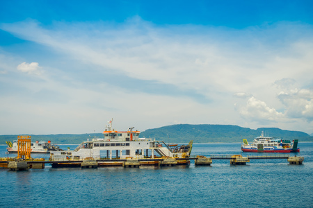 ubud: BALI, INDONESIA - APRIL 05, 2017: Ferry in Banyuwangi Gilimanuk in Ubud, Bali Indonesia
