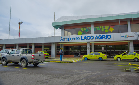 LAGO AGRIO, ECUADOR- NOVEMBER 16, 2016: Beautiful airport located in the city of Lago Agrio, where tourist arrived to travel and visit the Cuyabeno National Park, full of biodiversity of animals and plants