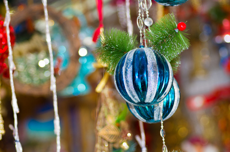 QUITO, ECUADOR- 07 MAY, 2017: Beautiful blue and white christmas ornaments in a market