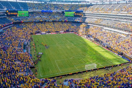 NEW YORK, USA - NOVEMBER 22, 2016: Metlife Stadium full of fans of Ecuadorians and Hatians, ready to see the football game in New York Usa. Editorial