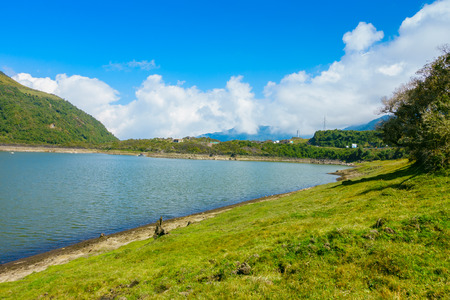 Beautiful lagoon located in Papallacta the Andean highlands in a sunny day in Quito Ecuador 版權商用圖片