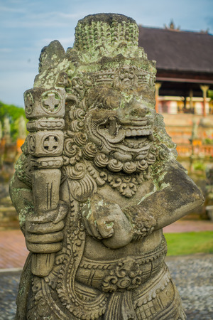 BALI, INDONESIA - MARCH 08, 2017: Stone statute in Semarapura, Kertha Gosa Pavilion in Klungkung Palace, in a beautiful day in Denpasar Indonesia