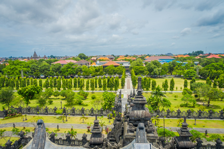 BALI, INDONESIA - MARCH 08, 2017: Panoramic landscape traditional balinese hindu temple Bajra Sandhi monument in Denpasar, Bali, Indonesia on background tropical nature and blue summer sky, Indonesia Editorial