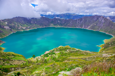 crater lake: Amazing view of lake of the Quilotoa caldera. Quilotoa is the western volcano in Andes range and is located in andean region of Ecuador