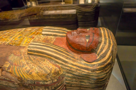 HOUSTON, USA - JANUARY 12, 2017: Close up of the sarcophagus of the Ancient Egypt in National Museum of Natural Science in Orlando Houston in USA