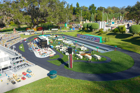 HOUSTON, USA - JANUARY 12, 2017: Miniature of a car race track in USA, is replete with inspiring reproductions, made with lego pieces