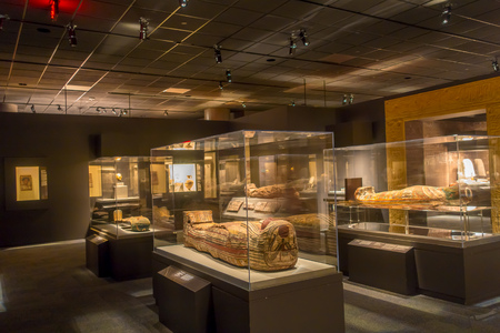 HOUSTON, USA - JANUARY 12, 2017: Exposition of different sarcophagus inside of the building in the Ancient Egypt area, in National Museum of Natural Science in Orlando Houston in USA Editorial