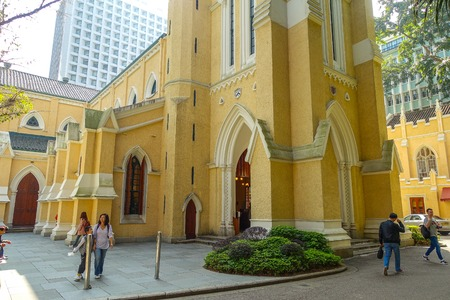 parish: HONG KONG, CHINA - JANUARY 26, 2017: Unidentified people walking near of St. Johns Cathedral, is the first established christian churches in Hong Kong,built in 1849. Editorial