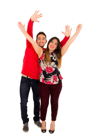 hands pocket: Full portrait of happy couple isolated on white background. Attractive man and woman being playful