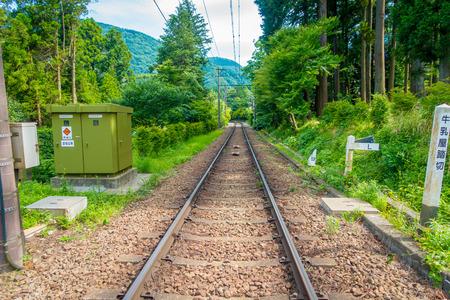 Railway of Hakone Tozan cable train line at Gora station in Hakone, Japan