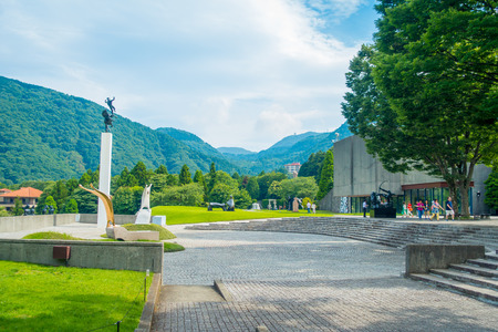 HAKONE, JAPAN - JULY 02, 2017: Beautiful area with a square a the Hakone Open-Air Museum or Hakone Chokoku No Mori Bijutsukan is popular museum featuring an outdoor sculpture park some indoor exhibits Hakone, Japan Editorial