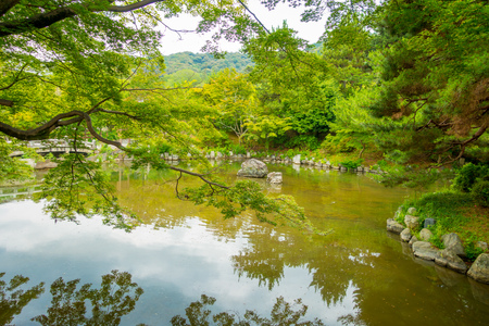 Beautiful artificial lake located in Gio disctrict at Kyoto