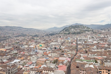 Beautiful view of Quito mixing new architecture with charming streets, with a panecillo turist place in the mountain in front, in the city of Quito Stok Fotoğraf - 82558478