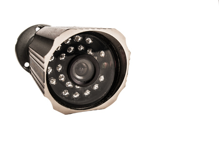 ir: Close up of a surveillance camera isolated on white background Stock Photo
